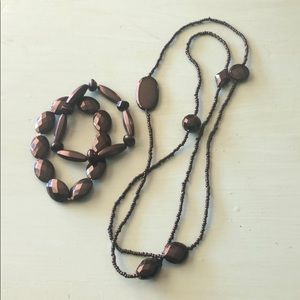 Black Beaded Necklace with Two Matching Bracelets
